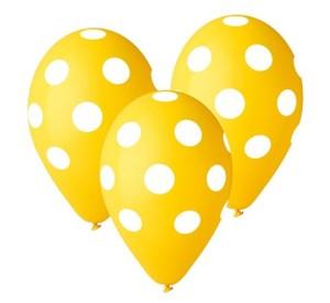 """Balony lateksowe groszki i konfetti - Balony Premium """"Grochy"""", żółte, 12"""""""