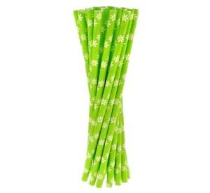 """Rurki (słomki) pap. zielone """"Stokrotki"""", 6x197mm"""