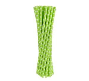 """Rurki (słomki) pap. zielone """"Grochy"""", 6x197mm"""