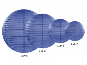 Lampion papierowy, średnica 25 cm, niebieski