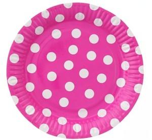 Talerzyki papierowe groszki różowe