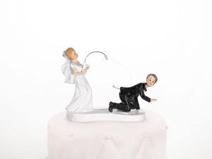 """Figurki na tort - Figurka na tort weselny """"Para Młoda z wędką"""" / PF18"""