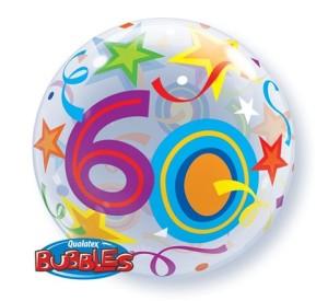 """Balony foliowe na okrągłe urodziny - Balon foliowy Bubble """"Liczba 60"""", 55 cm / 24172"""