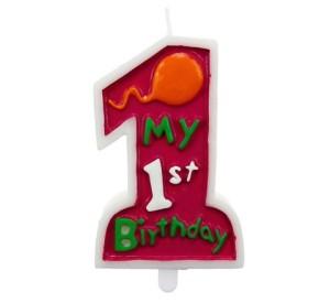 """Świeczki cyfry i liczby - Świeczka """"My 1st Birthday"""", różowa"""