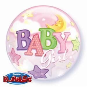 """Balony foliowe kształty z napisami - Balon na Narodziny dziecka foliowy Bubble  """"Baby Girl"""" / 23598"""