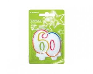 """Świeczki cyfry i liczby - Świeczka urodzinowa liczba """"60"""""""