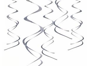 Spiralki wiszące - Świderki dekoracyjne srebrne / SWID20-018