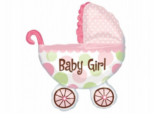 """Balony foliowe kształty i wzory - Balon foliowy 28 x 31"""" SHP Wózek Baby Girl"""