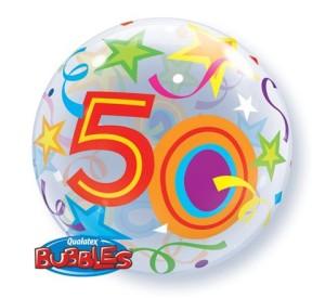 """Balony foliowe na okrągłe urodziny - Balon foliowy Bubble """"Liczba 50"""", 55 cm / 24171"""