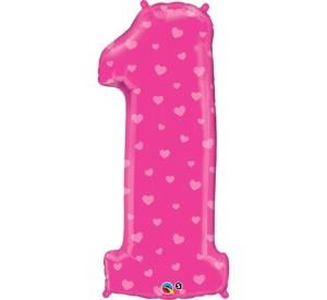 """Balon foliowy 38"""" QL """"Number 1"""", różowa w serduszka"""