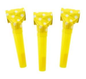 """Trąbki papierowe """"Groszki"""", żółte"""