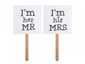 "Karteczki i tabliczki do fotobudki - Rekwizyty do fotobudki  ""I`m his MRS / I`m her MR"""