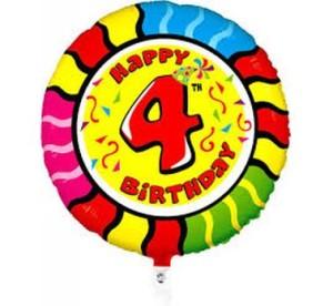 Balony foliowe z cyframi i liczbami - Balon foliowy na 4 urodziny / 04418