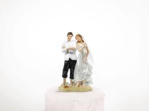 """Figurki na tort - Figurka na tort weselny """"Para Młoda na plaży"""" / PF49"""