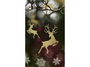 Dekoracje papierowe - Zawieszki Rudolf, złoty, 9,4 x 14,5cm