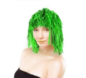 Peruki - Peruka foliowa/ włosy anielskie, zielona