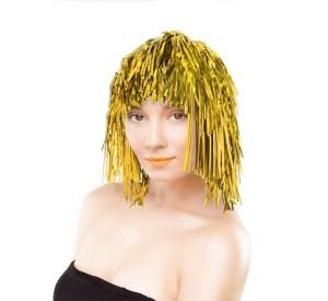 Peruki - Peruka foliowa / włosy anielskie, złota