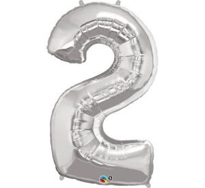 "Balony foliowe cyfry 86 cm - Balon foliowy 34"" srebrna ""Cyfra 2""/ 30404"