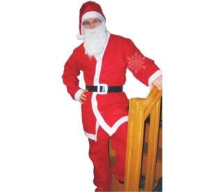 """Stroje dla mężczyzn - Strój dla dorosłych """"Mikołaj"""" (czapka, broda, bluza, spodnie, pasek), rozmiar uniwersalny"""