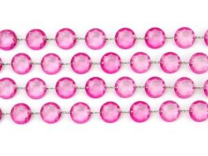 Girlanda kryształowa, różowy, 1m