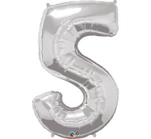 "Balony foliowe cyfry 86 cm - Balon foliowy 34"" srebrna ""Cyfra 5"" / 30417"