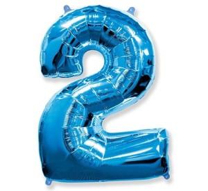 "Balon foliowy 34"" QL ""Number 2"", niebieski ST ASORT"