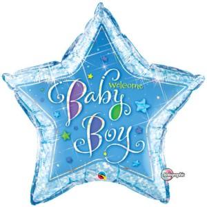"""Balony foliowe kształty z napisami - Balon na Narodziny dziecka foliowy """"Welcome Baby Boy"""""""