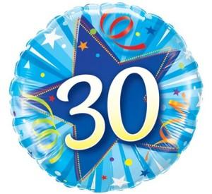"""Balony foliowe na okrągłe urodziny - Balon foliowy okrągły """"Liczba 30"""" / 30239"""