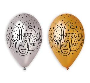 """Balony lateksowe z napisami - Balony na Sylwestra """"Happy New Year"""", balony lateksowe Premium / złote i srebrne"""
