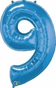 """Balony foliowe cyfry 86 cm - Balon foliowy SuperShape cyfra """"9"""", niebieski /  86 cm"""