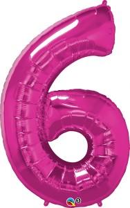 """Balony foliowe cyfry 86 cm - Balon foliowy - fuksjowa cyfra """"6"""" / 86 cm"""