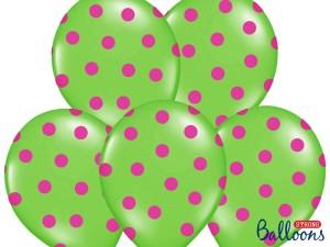 """Balony lateksowe groszki i konfetti - Balony lateksowe z nadrukiem """"Kropki"""", zielone / 30 cm SB14P-223-102P/6"""