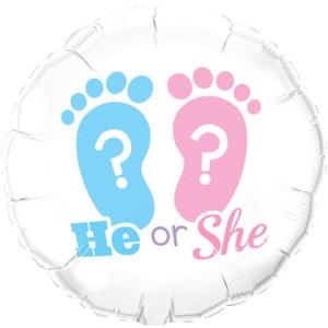 """Balony foliowe kształty z napisami - Balon na Narodziny dziecka  foliowy 18"""" """"He or She"""""""