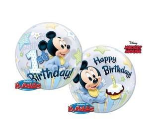 Balony foliowe z bohaterami bajek - Balon foliowy 22 Roczek Miki Mause Happy Birthday