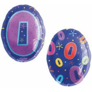 """Balony foliowe z cyframi i liczbami - Balon foliowy 18"""" SHP """"0"""""""