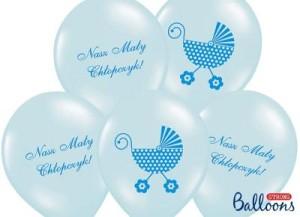 """Balony lateksowe z napisami - Balony na Narodziny dziecka lateksowe """"Wózek - Nasz Mały Chłopiec"""" / SB14P-220-011/6"""