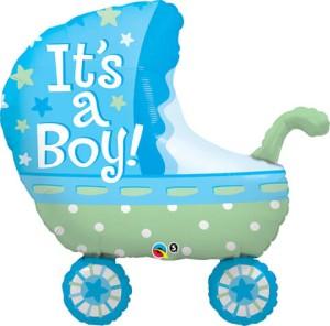 """Balony foliowe kształty z napisami - Balon foliowy 35"""" """"Wózek It`s a Boy"""""""