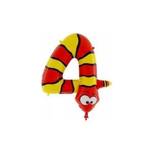 """Balony foliowe cyfry 86 cm - Balon foliowy """"Wąż - cyfra 4"""" / 90 cm"""