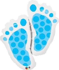 """Balony foliowe kształty i wzory - Balon foliowy 35"""" QL SHP """"Baby Feet"""", niebieskie"""