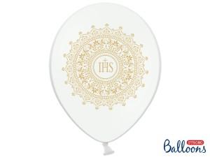 Balony komunijne - Balony Komunijne lateksowe na I  Komunię Świętą,  IHS-Metalic Pure White