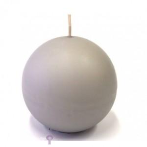 Świeczki kule - Szara świeca kula, matowa / 8 cm