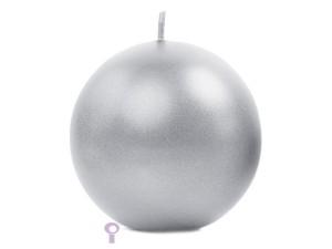 Świeczki kule - Srebrna świeca kula, metalizowana  / 8 cm