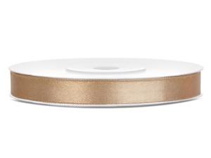Tasiemki satynowe 6 mm - Tasiemka satynowa, jasne złoto / 6 mm