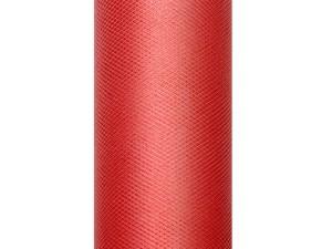 Tiul gładki, czerwony, 0,3x9m
