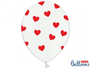 Balony 30cm, Serduszka, Pastel White