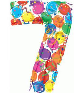 Balon foliowy MULTICOLOUR cyfra 7