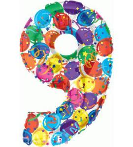 Balon foliowy MULTICOLOUR cyfra 9