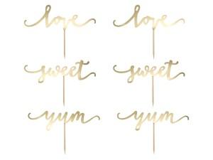 Dekoracje do muffinek Love, złoty, 13cm