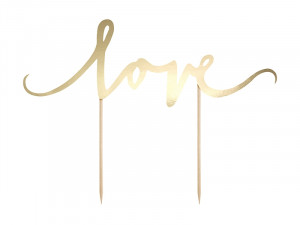 Topper na tort Love, złoty, 17cm