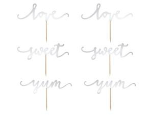 Toppery z napisami - Topper na tort Love, srebrny, 13cm